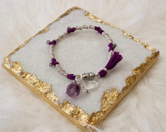 Silver Plated Quartz Stone Charm Bracelet