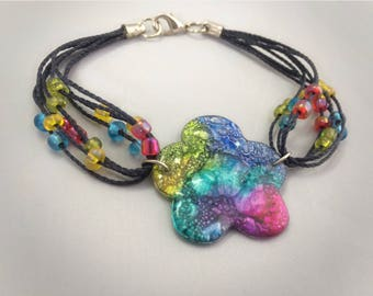 Sale! Colorful Flower Bracelet made with recycled CD