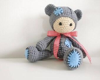 Crochet baby in bear costume