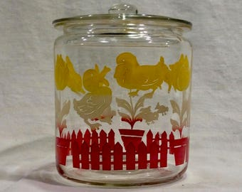 Covered Glass Jar with Bunny, Duck and Lamb Decals - 1940's