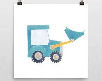 Construction Truck Nursery Print – Blue Bulldozer