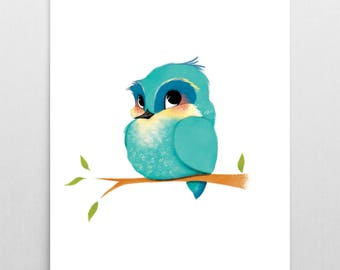 Animal Nursery Print – Bluebird