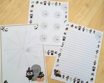 Halloween Letter Writing Paper with 6 envelope seals - 2 designs