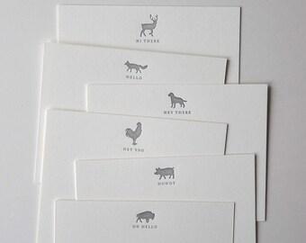 Box of 6 Letterpress Animal Notecards