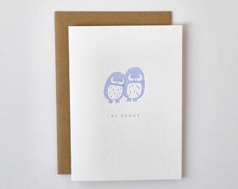Buddy Owls Letterpress Greeting Card