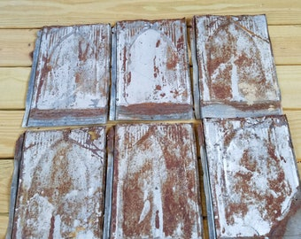 Victorian era tin roofing shingles, set of 6