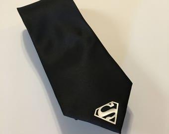 Superman Necktie, Small Silver Logo