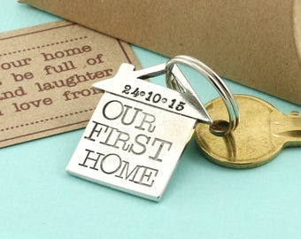 "Personalised  ""Our First Home"" Pewter Keyring/New home gift/Housewarming Gift"
