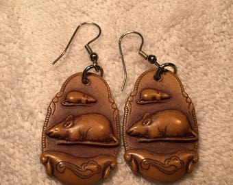 Multiple Rodent Earrings. Faux-Wood