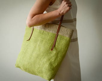 Summer Tote Bag \ NATURAL HANDMADE BAG \ shoulder bag \ Leather handles bag \ Linen bag \ Beach bag \ green bag \ Resort Tote \ Casual Bag