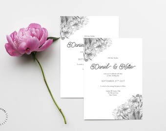 Floral Wedding Invitation Template, Printable Floral Wedding Invitation, Customizable Wedding Invitation Template, Modern Calligraphy Invite