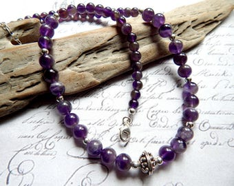 Amethyst and Sterling Silver Necklace - Beaded Amethyst Necklace - Natural Amethyst Semi Precious Necklace - 19 Inches + Extender Option