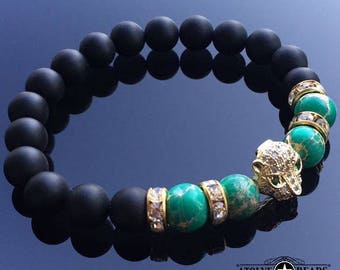 18kt Gold Plated Leopard - Black Onyx