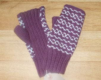 Purple Fair Isle inspired fingerless hand warmers.