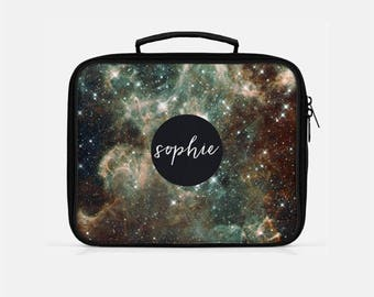 Galaxy Lunch Box, Space Lunch Box, Brown Lunch Box, Monogrammed Lunchbox, Graduation Gift Personalized, Lunch Box Adult, Stars Lunch Box