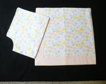 Pink floral baby blanket