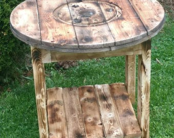 Wood Wire Spool Table, Rustic round end table