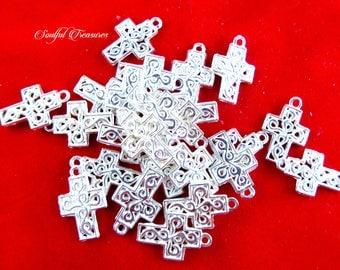 Destash, Ornate Religious Catholic Christian Silvertone Crosses, Jewelry Making, Craft Supply,  Altered Art Supplies, Assemblage