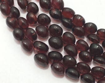 Natural Garnet Mozambique Smooth Onion Beads, Smooth beads, Red Beads, Semiprecious Stone Beads, 8 Inches Length, Onion Beads