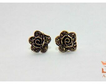 Earrings Small Silver 925 Sterling Rose Flowers Rose Flower jewelry Dainty floral Stud earrings Handmade