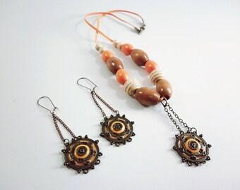 Necklace Set Earrings, Orange Bohemian Jewelry, Shamballa Jewelry Styles, Stylish Elegant Casual Jewelry, Designer Earrings, Boutique Set