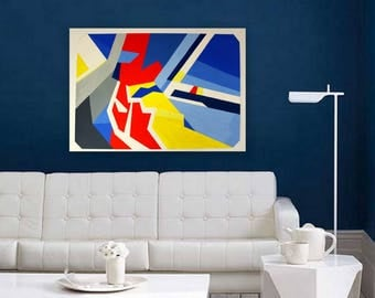 ORIGINAL Abstract Painting Abstract Painting Wall Hanging Modern Painting Navy Blue Home Decor Wall Decor Gouache Painting Red Blue Yellow