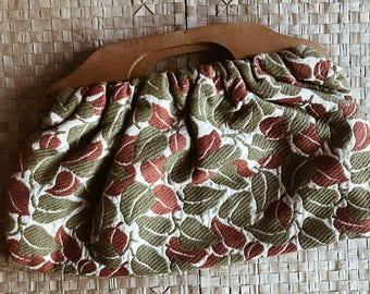 SALE: Green & Red leaf vintage wooden handle clutch