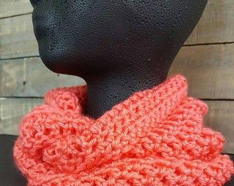 Crochet cowl, infinity cowl, infinity scarf, orange scarf, hand crochet