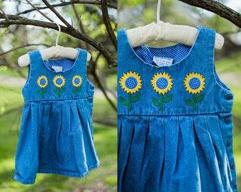 Sunny jumper | light blue vintage jumper | toddler girl sunflower jumper