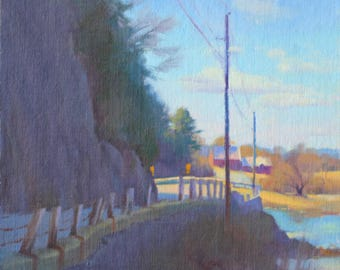 """Original 10x12 Oil Painting """"Road Between Cliff and River"""" Impressionist Landscape New England River Scene New Hampshire Landscape Realist"""