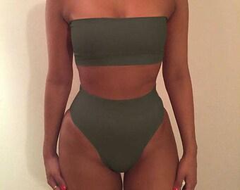 aria khaki bandeau high waisted brazilian bikini