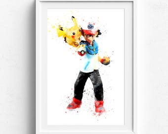 Ash ketchum, Ash Pokemon, Cartoon Anime, Pokemon Nursery, Ash Ketchum Art, Pokemon Poster, kids printable, playroom prints, kids art prints