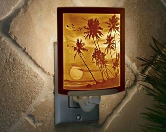 Tropical Sunset - Porcelain Lithophane Night Light
