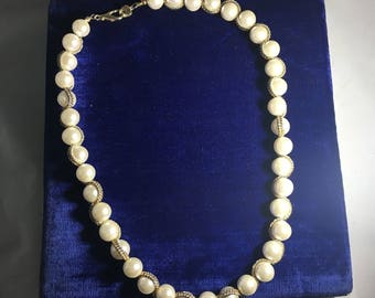 Vintage Costume Pearl & Gold-tone Rope Necklace