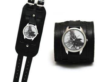 Dark Raven watch with extra wide leather cuff | Raven picture watch | Raven image watch | Extra wide leather cuff | Designed wide cuff
