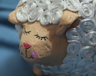 Piggy bank Paper Mache - sheep