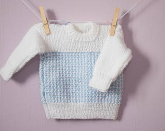 Adorable Handmade Baby Jumper, Hand Knitted by Nanny, White with Blue Chest Detail & Flower Buttons.