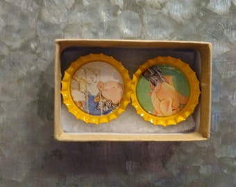 2 Piggy Bottlecap Magnets