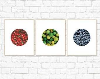 Fruit Print Set, Food Photography, Food Print, Cherry, Lime, Blueberry, Home Decor, Minimalist, Printable Digital Wall Art, Instant Download