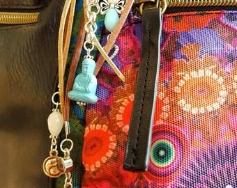 Boho Keychain, Keychain, Charm keychain, purse charm, gift for her, gift for women, Bijou de sac, Llavero.