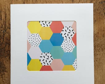 Bright Patchwork inspired print, handmade card