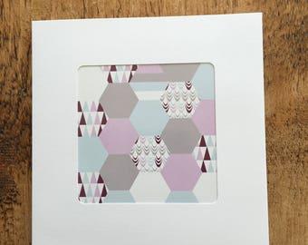 Purple Patchwork inspired print, handmade card