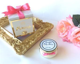 25-3oz Baby Shower Candle Favors w/ Gift Box-Girl Baby Shower Favors-Boy Baby Shower Favors-Party Favors-Foil Print-Rose Gold Foil-Gold Foil
