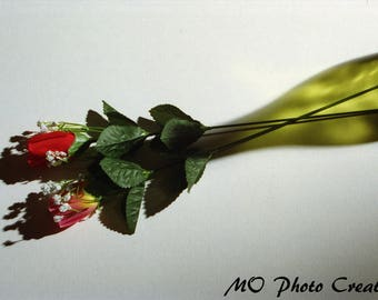 Pink and Red Flowers Green Bottle Still Life Color Photograph