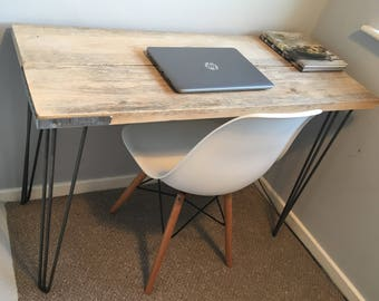Rustic wood handmade desk finished with industrial style hairpin legs