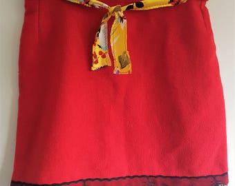 Vintage mini skirt, silk fabric, yellow belt, lace trim, lace skirt, red skirt, 60s clothing, 60s mini dress, upcycled clothing, mini skirt