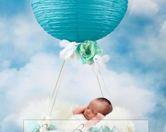 Digital background, scenery, newborn babies, balloon boy