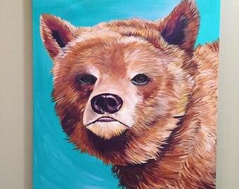 Original Bear Acrylic on Canvas Painting 16x20