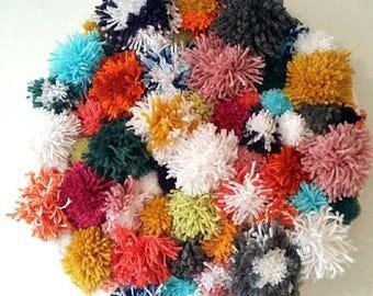 Colorful Yarn Pompom Wall Decor