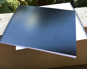Notebook (Landscape) - Amazing for Note-Taking - Drawing Book - Black or Clear Cover - Horizontal Layout - Coil Binding